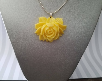 Glass yellow pearl necklace with yellow rose pendant 16 large yellow rose pendant necklace mozeypictures Images