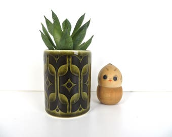 Vintage Hornsea Heirloom Green Toothpick Holder, Mod Avocado Green and Black Ceramic Toothpick Holder, Air Plant Home