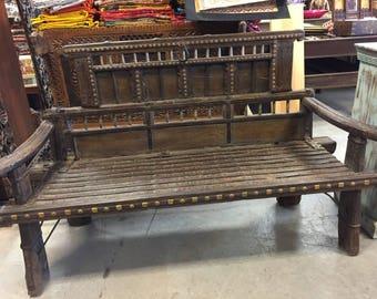 Antique  Cart Hand Carved Haveli Rustic Bench Teak Sofa Iron Brass Patina Dark Wooden