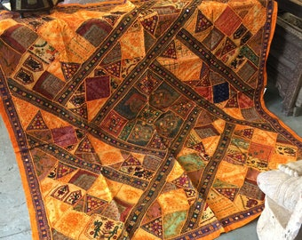 Antique oRANGE gOLD Russet Wall Hanging Tapestry Kutch Embroidered Patchwork Table Throw FREE SHIP Early Black Friday