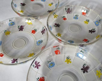 Bohemian Vintage Handpainted Glass Dainty Ice Cream Dessert Bowls Dishes Meadow Flowers Violet Blue Daisy Buttercup Rose Czechoslovakia