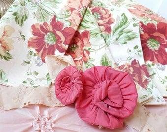 Vintage Rose Cloth Napkins Cabbage Rose Fabric Rose Material Vintage Rose's ForevermoreJewels  Rose Napkins Cabbage Roses Shabby Chic Decor