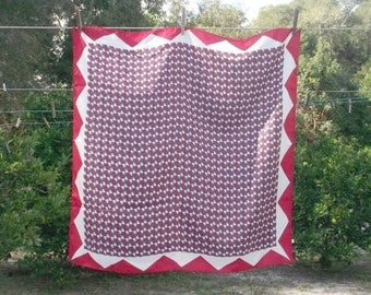 DOG DAYS Vintage Red White Blue Geometric Scarf from Japan 27x27