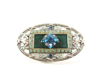Vintage Catherine Popesco Teal Enamel And Blue Crystal Art Deco Style Signed Designer Brooch-Made In France