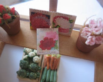dollhouse garden flower seed packets x 3  vintage style 12th scale miniature