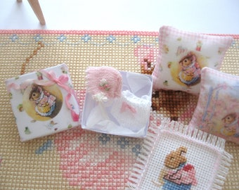 dollhouse beatrix potter mrs tittlemouse boxed knitted bonnet pants baby doll nursery shop 12th scale miniature