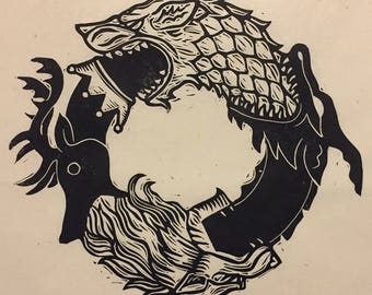 Game of Thrones Ouroboros Block Print