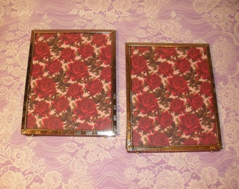 Vintage Pair of Gold Tone Photo Frames 8 x 10 Set of 2 Metal Picture Frames