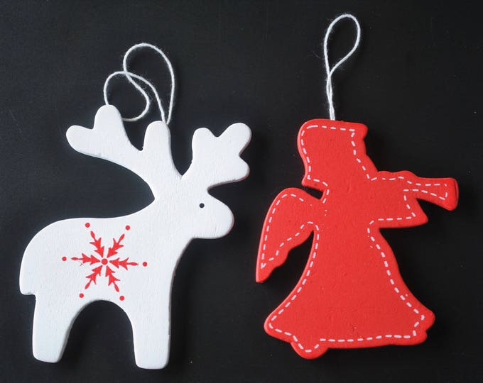 Swedish Modern Wood Reindeer and Angel Ornament Set