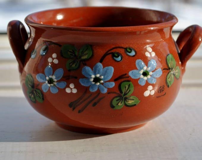Swedish Ceramic Jam Jar or Honey Serving Pot Floral Design Dalarna