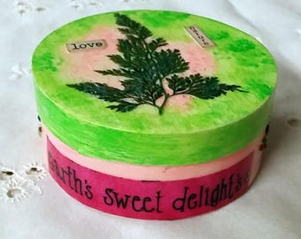 """Hand-painted Dried Fern Love Nature 3"""" Round Box  OOAK"""