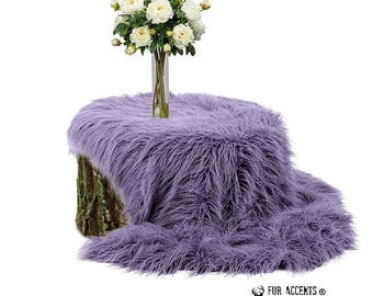Plush Faux Fur Throw Blanket - Bedspread - Luxury Long Hair Mongolian Sheepskin Shag Fur Fur Minky Cuddle Fur Lining - Fur Accents - USA