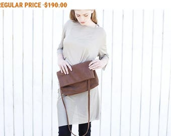 Sale, Large Leather Clutch Purse, Fold Over Purse, Women Cross Body Bag, Leather Handbag, Diesel Brown Leather Crossbody Purse - Brown