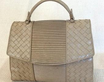 15% SUMMER SALE Vintage Bottega Veneta beige leather woven handbag purse