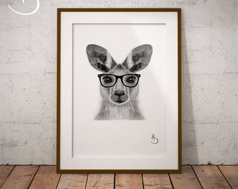 CUTE HIPSTER KANGAROO Drawing download, Kangaroo decor, Hipster Kangaroo Print, Printable Kangaroo Poster, Printable, Hipster Animal, Pdf