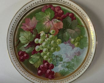 """Antique Litho GRAPES LEAVES Dresden China Porcelain Cake Plate Platter Charger 10 5/8"""""""