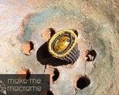 Macrame ring, Pietersite, brown, beige, Bohemian fashion, boho ring, Free Worldwide Shipping