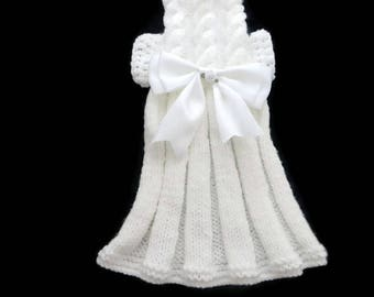 Dog clothes,  Knitted girl dog  dress, cat dress in white, Baby Pink,  Lemon  or  Mint Green  with  a White  satin bow trim. XXXS - XL