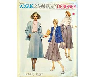 "UNCUT Vintage Vogue American Designer 1947 Anne Klein Blazer Jacket, Skirt, Shirt and Scarf Sewing Pattern Size Bust 36"" UK 14"