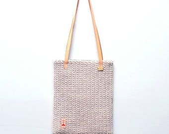 Feather Crochet Tote Bag