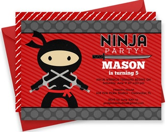 Ninja Invitation, Ninja Birthday, Ninja Birthday Party, Ninja Baby, Ninja Party, Ninja Birthday Invitations, Ninja Party Invitations | 408