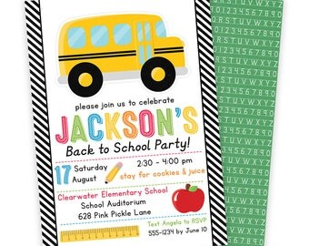 Back to School Invitation, Back to School Party, School Invitation, School Party, Back to School Bash, School Bus Party, School Bus  | 628