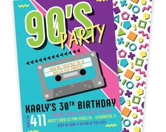 90s Invitation, 90s Invite, 90s Birthday, 90s Birthday Party, 90s Birthday Invitation,90s Party Invite, 80s Invitation, 80s Birthday   646