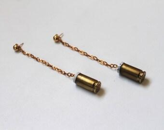 long dangling 45 caliber bullet casing earrings