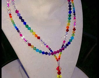 Rainbow lanyard with matching bracelet and earrings.