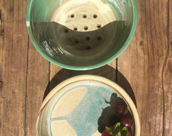 Super Cutie - Berry colander- stoneware- one of a kind- handmade