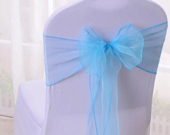 25x Aqua Blue Chair Sashes Bow Cover for Wedding Engagement Event Party Reception Ceremony Bouquet