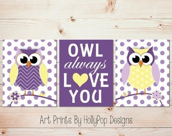 Owl Nursery Art Owl Always Love You Modern Nursery Wall Art Baby Girl Nursery Art Prints Purple yellow Decor Owl Nursery Prints #0638