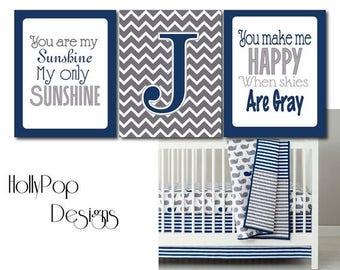 You Are My Sunshine Boy Nursery Decor Make a Splash Personalized Art Prints Chevron Navy Blue Gray wall decor Idea bedroom playroom