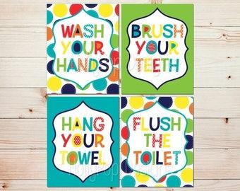 Kids Bathroom Wall Art Bright Colorful Bathroom Decor Wash Your Hands Brush Your Teeth Art Prints Childrens Bathroom Manners Lime Navy #1156