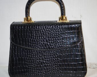 Vintage 60s Black Moc Croc Dress Purse Evening Bag