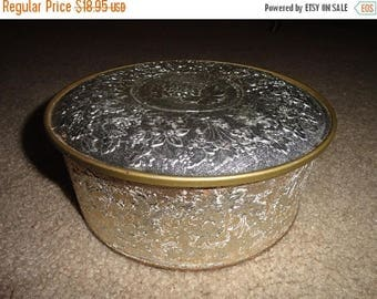 50% OFF Vintage silver Very old tin can with lid Guildcraft new york usa 8 inch diameter 3 inch hieght