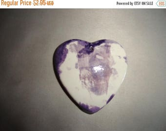 50% OFF Vintage Heart necklace Pendant 4 inch by 4 inch glazed clay