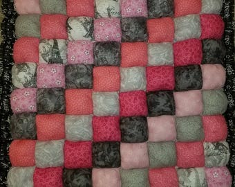 Pink and Grey Tummy Time Baby Bubble Quilt