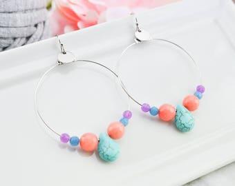 Turquoise and jade Hoops Earrings -  Gemstone earrings - Earrings bohemian - ethnic jewelry - silver earrings - gift for her - birthday gift