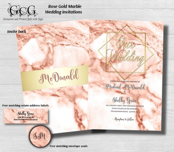 Rose Gold Marble Wedding Invitations Marble Invitation Rose