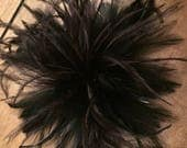 Black Ostrich Feather Fascinator Hair Clip Accessory...handmade in the usa