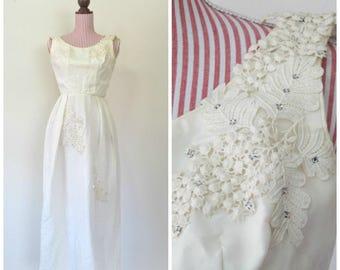 1960's VINTAGE Dress / Wedding / 60s / Column / Organza / Lace / Rhinestones / Applique's