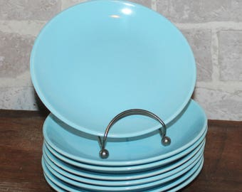 Temporama bread and butter plates set of 8 aqua blue plates, mid century dinnerware, Atomic kitchen, Canonsburg pottery