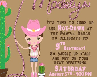 Cactus Cowgirl Printable Invitation (or Printed for additional charge)