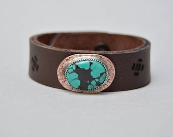 Turquoise Copper Leather Bracelet. Boho. South Western Design. Cowgirl . Bracelet. Boho . By Nin and Bumm