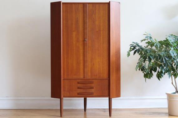 Beautiful Scandinavian Mid Century Modern Teak Corner Cabinet
