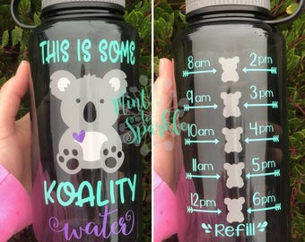 This is somw KOALITY water motivational water bottle with hourly time tracker