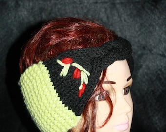 Green and black, very nice headband with braided Center AUDREY
