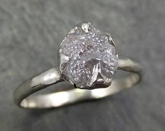 Rough Diamond Engagement Ring Raw 14k White Gold Ring Wedding Diamond Solitaire Rough Diamond Ring byAngeline 0657