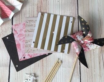 paper pinwheels kit - paris france french theme wedding hen party